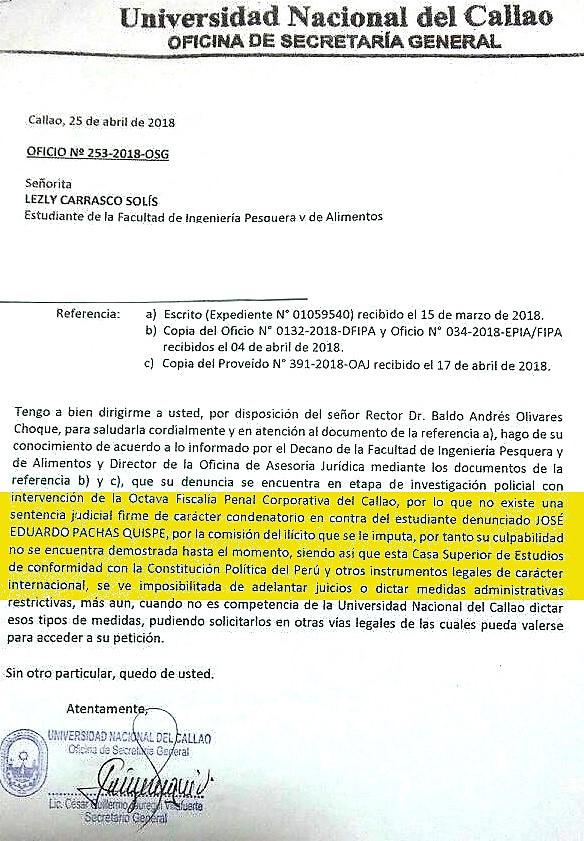 UNIVERSIDAD CALLAO COMUNICADOVIOLADORACLASE